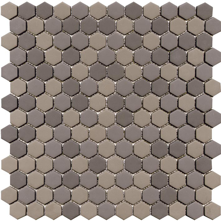 GLAZE HEXAGON GREYS MATT