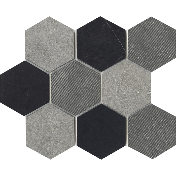 WORLD HEXAGON TEXTURE BLACK
