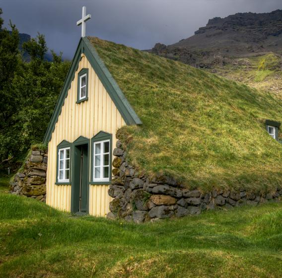 Casas de madera y césped
