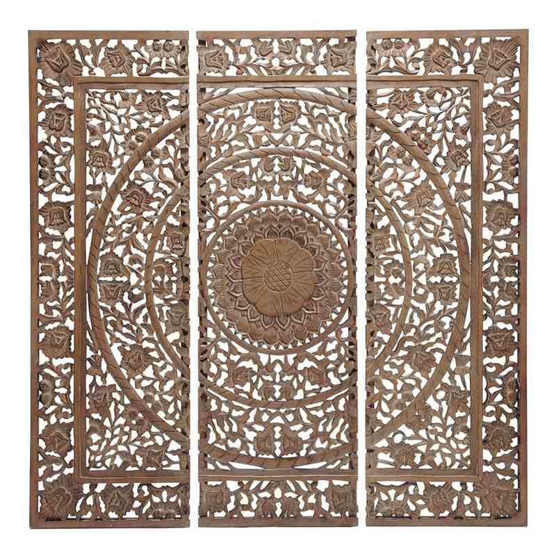 decoración de madera natural tallada