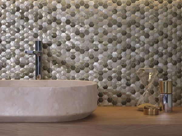 Mosaico Colors Aluminium Olive – Karon Oval Crema Italia – Top Nogal Warm