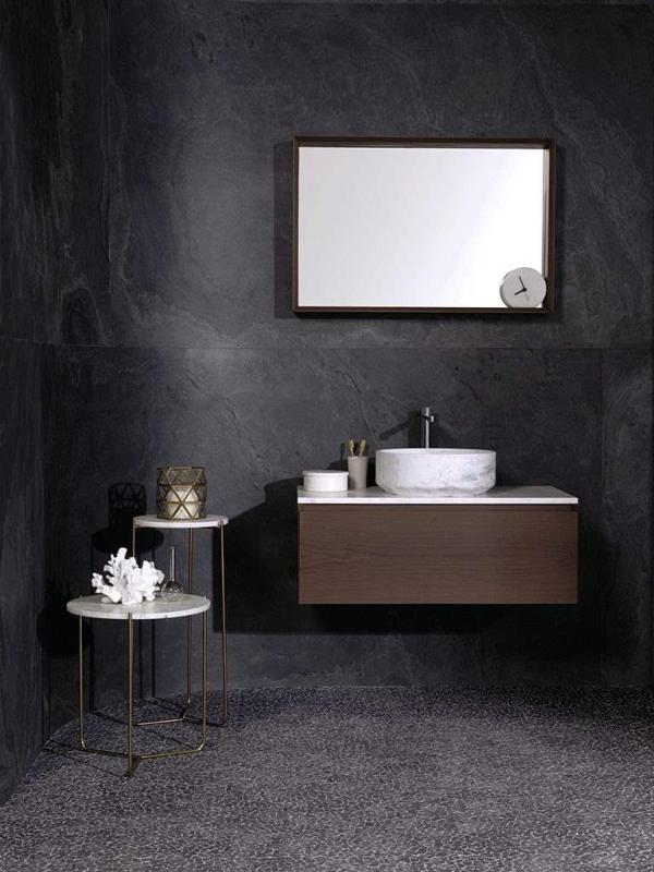 Airslate Graphite – Mosaico Paradise Tinybroken Edge Negro – Conjunto Karon Circle Persian Intense – Espejo Tower Mirror