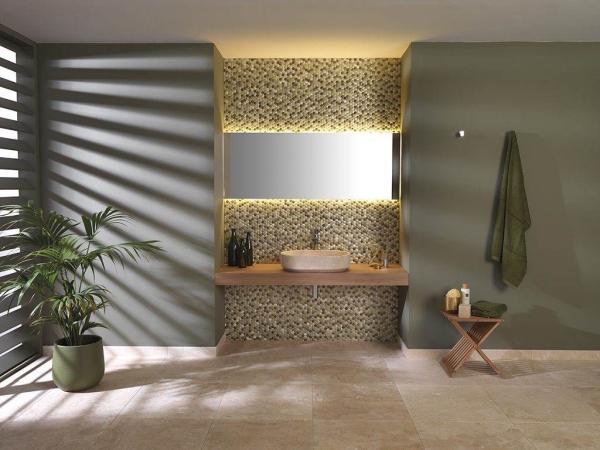 Mosaico Colors Aluminium Forest – Travertino Moka Classico – Karon Oval Crema Italia