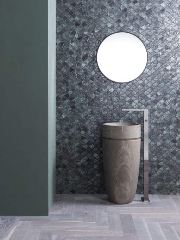 Mosaico Aqua Green – Lavabo Krabi – Madera Natural Downtown Grey Payne