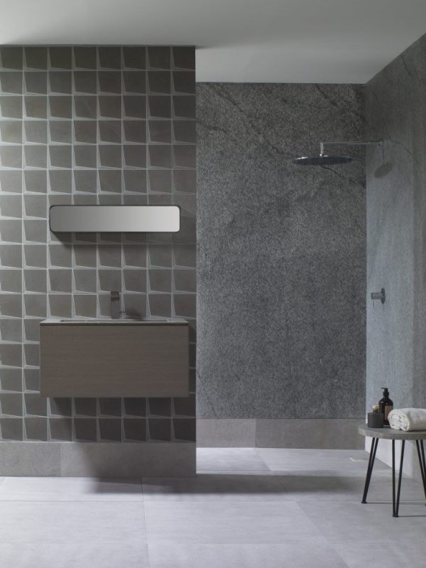 Mosaico Form Spark Brown – Lavabo Minim Wood Grey Stone – Piedra Natural Amsterdam Grey Sand – Airslate Kashmir