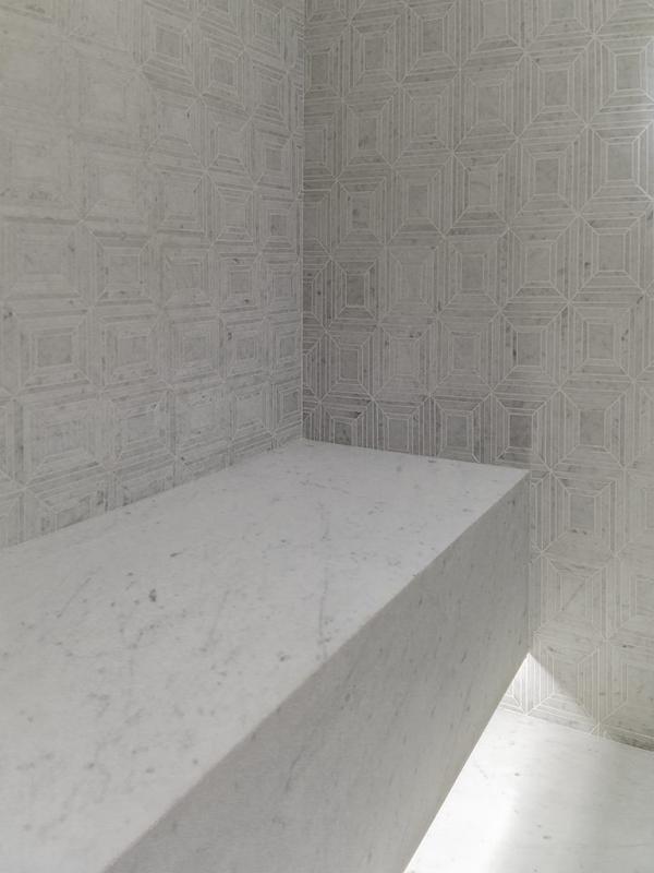Mosaico Virtual Square White – Piedra Natural Neve Di Carrara Classico