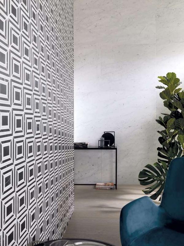 Piedra Natural Neve Di Carrara Classico – Mosaico Virtual Square Black – Madera Natural Sierra 1l Cantabrica