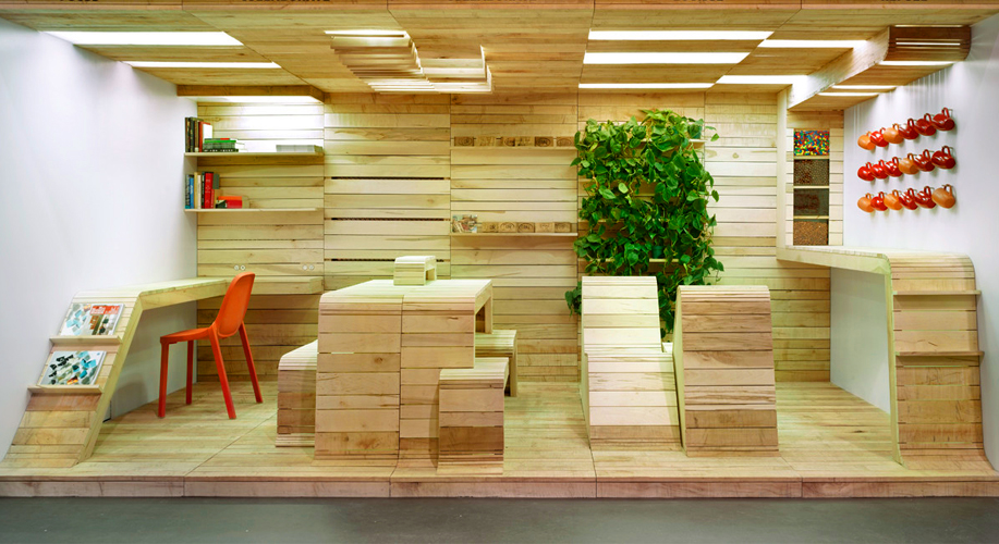 An office created from pallets: Pop-Up Office by Dubbeldam Architecture + Design