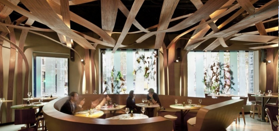 Brazil and Japan in an intertwined forest of branches. Ikibana Restaurant, Barcelona