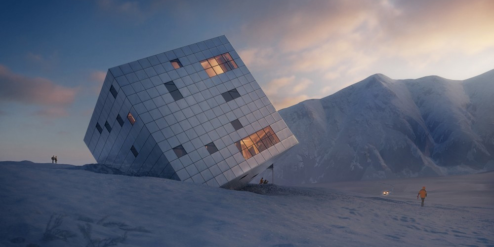 A wooden cube defying gravity in the high mountains of Slovakia