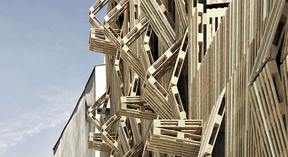 A facade designed with wooden pallets