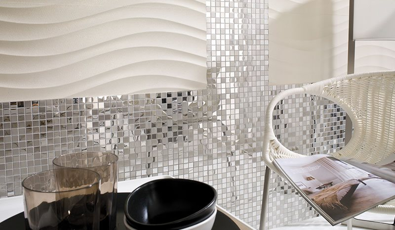 Modern spaces with metal mosaics